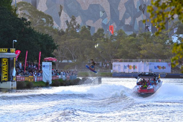 Men's pro wakeboarding at the Moomba Festival in Melbourne