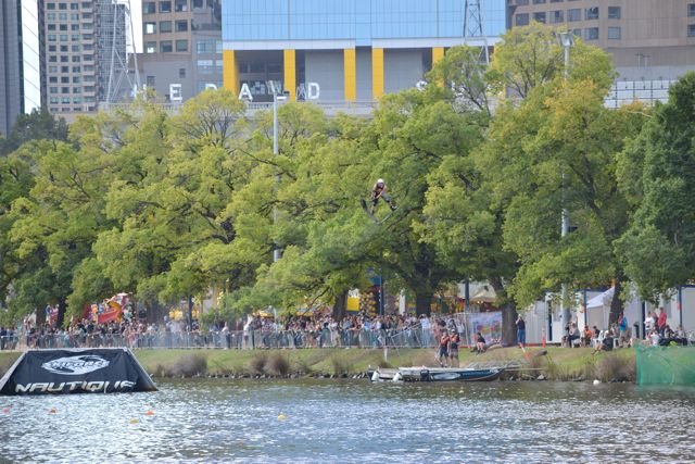 Look in the trees - water-skiier getting real high at the Moomba Festival