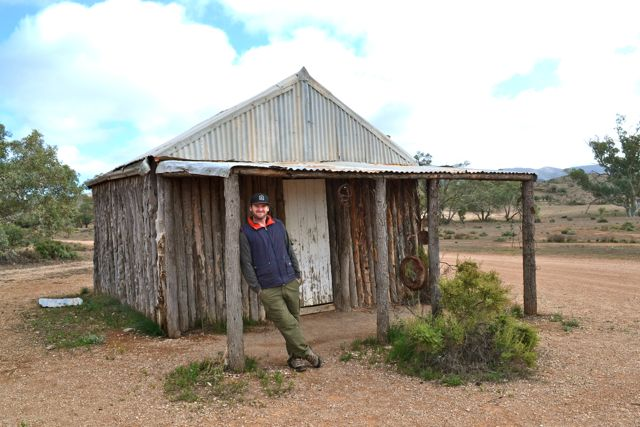 Outside Old Moxan's Hut, built at the turn of the century (and not the most recent one!)