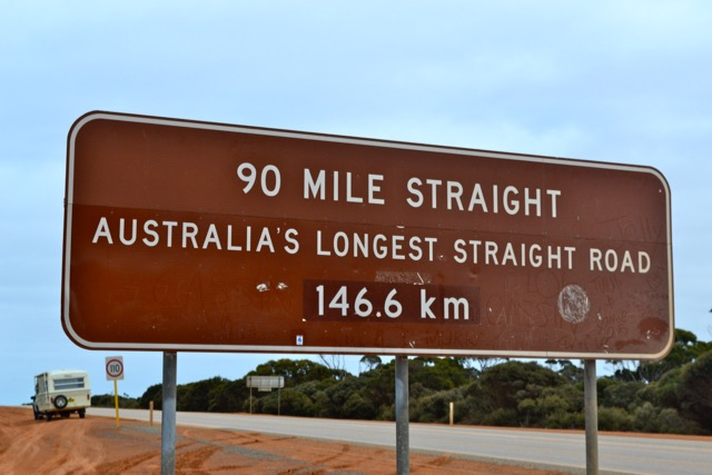 After this 146.6km straight there was a slight bend in the road and another 100 or so kms of straightness