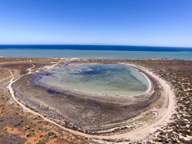 Lagoon from the drone. You can see our little ute